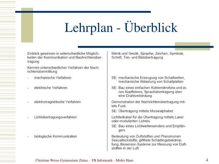 Lehrplan - Überblick