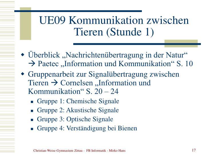 UE09 Kommunikation zwischen Tieren (Stunde 1)