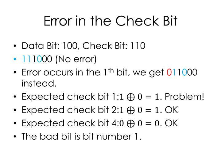 Error in the Check Bit