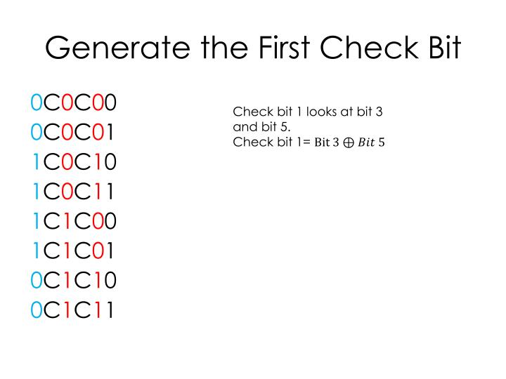 Generate the First Check Bit