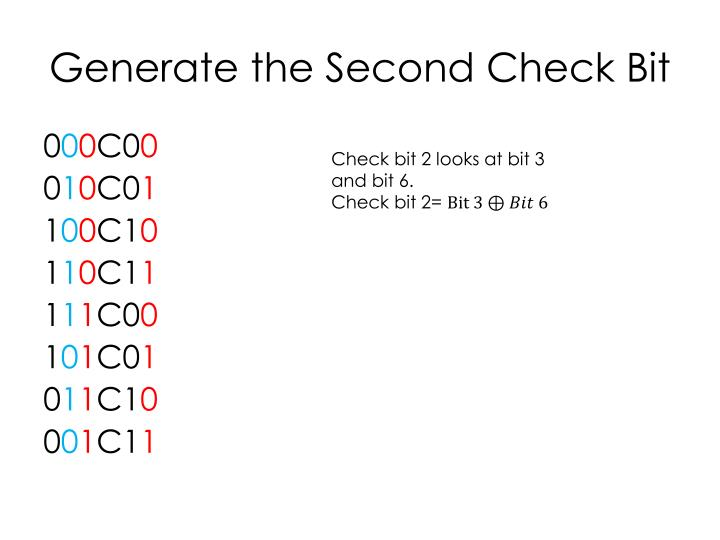 Generate the Second Check Bit