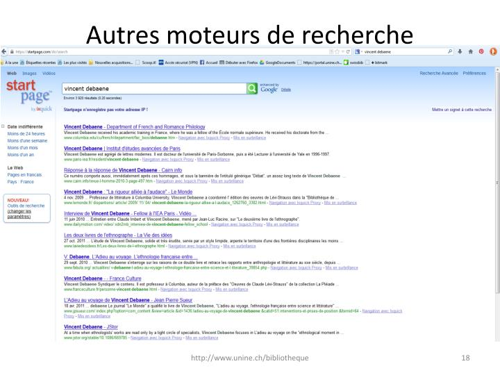 Autres moteurs de recherche