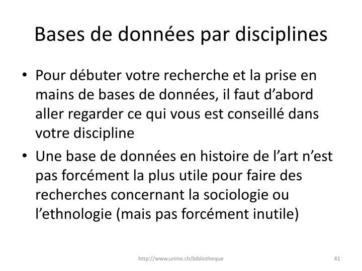 Bases de données par disciplines