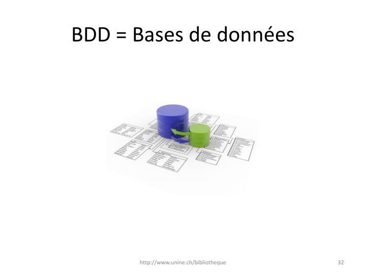 BDD = Bases de données