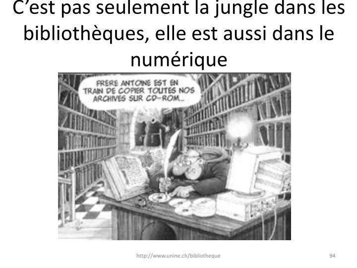 C'est pas seulement la jungle dans les bibliothèques, elle est aussi dans le numérique