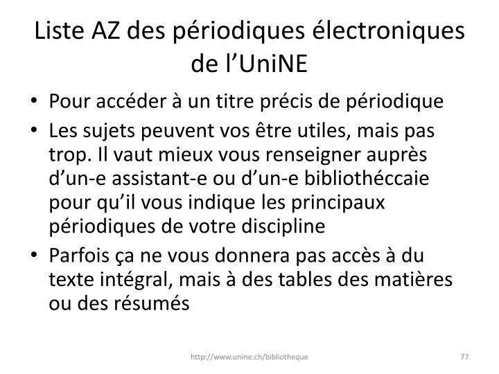 Liste AZ des périodiques électroniques de l'UniNE