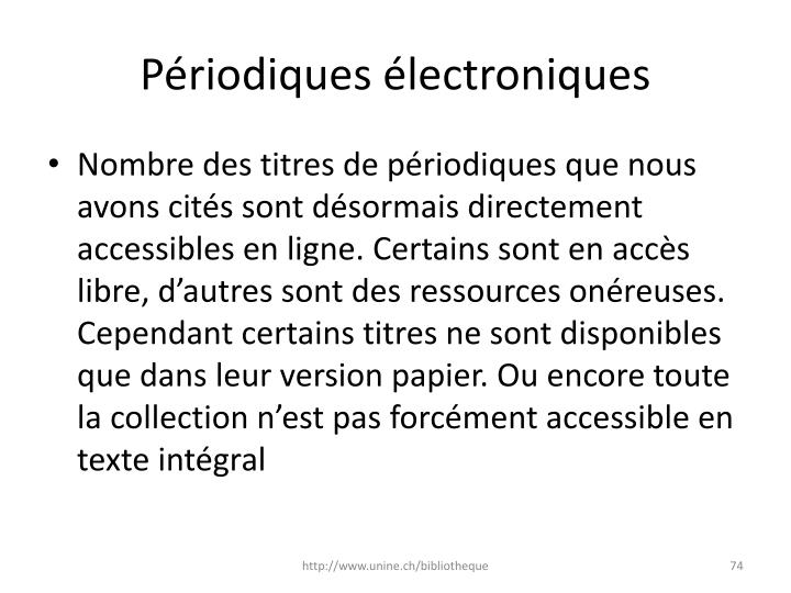 Périodiques électroniques