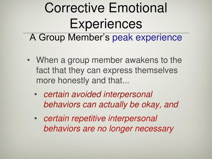 Corrective Emotional Experiences