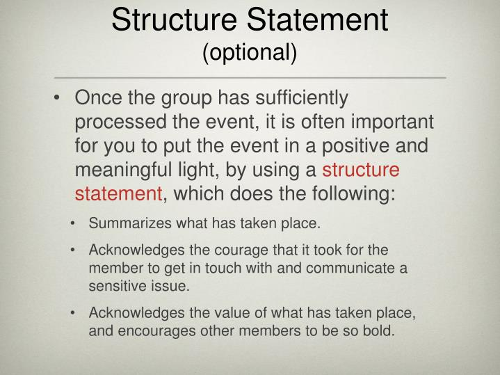 Structure Statement