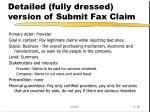 detailed fully dressed version of submit fax claim