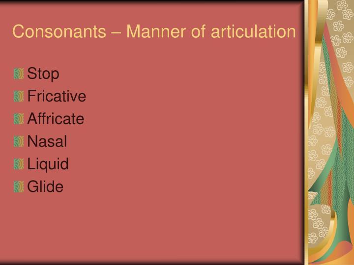 Consonants – Manner of articulation