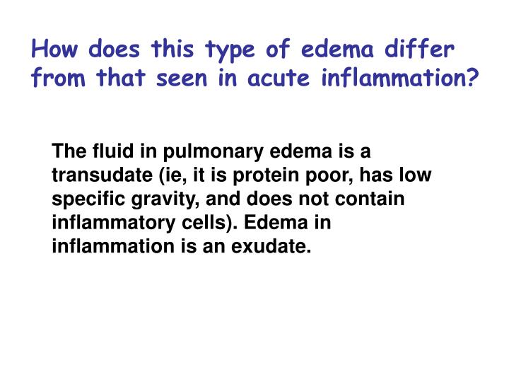 How does this type of edema differ from that seen in acute inflammation?
