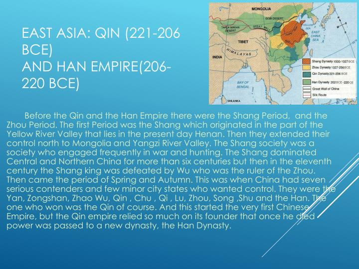 East asia qin 221 206 bce and han empire 206 220 bce