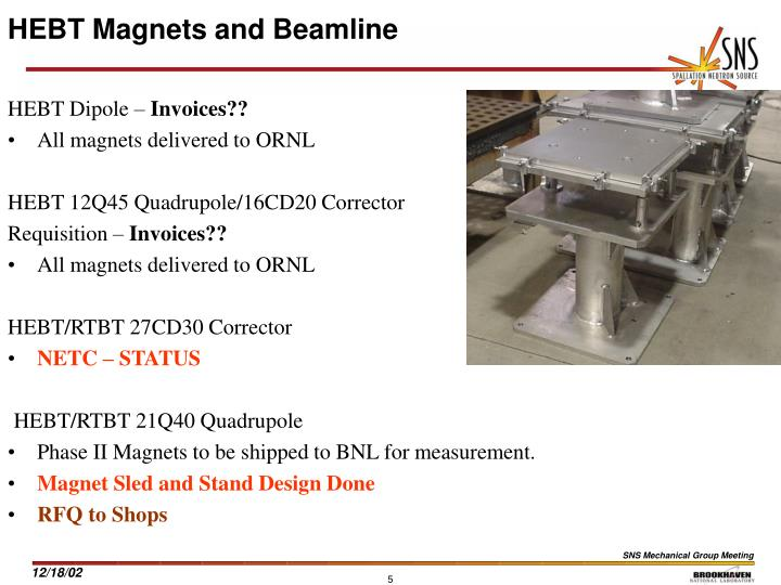 HEBT Magnets and Beamline