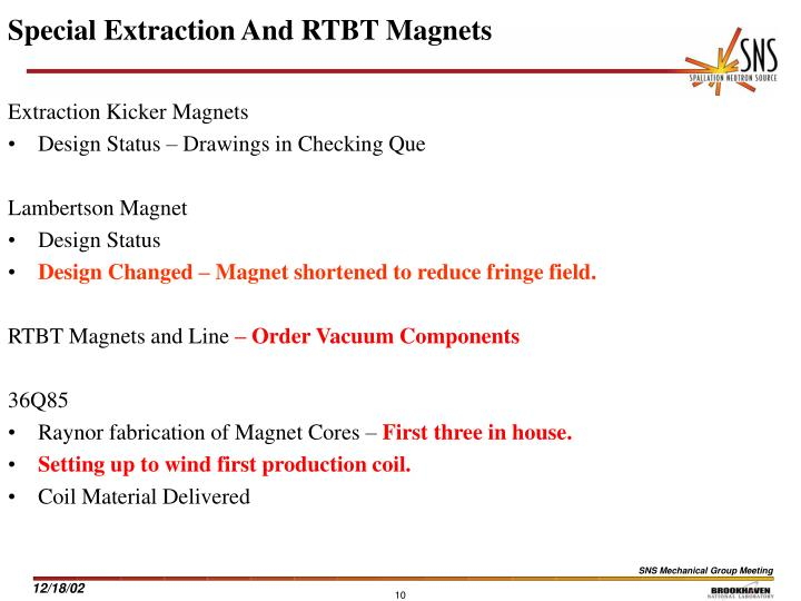 Special Extraction And RTBT Magnets
