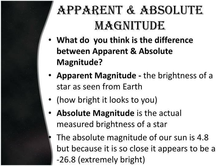 Apparent & Absolute magnitude