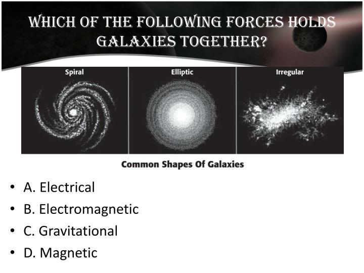 Which of the following forces holds galaxies together?
