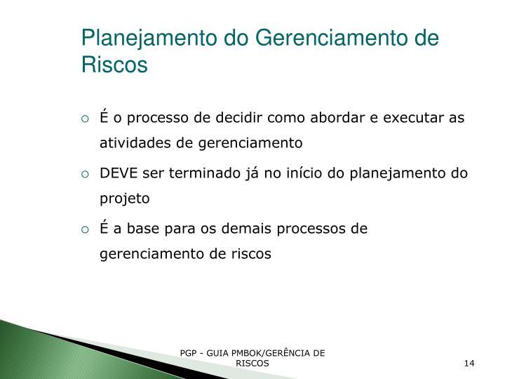 Planejamento do Gerenciamento de Riscos