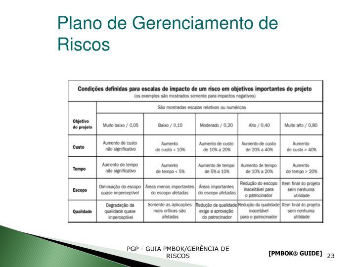 Plano de Gerenciamento de Riscos