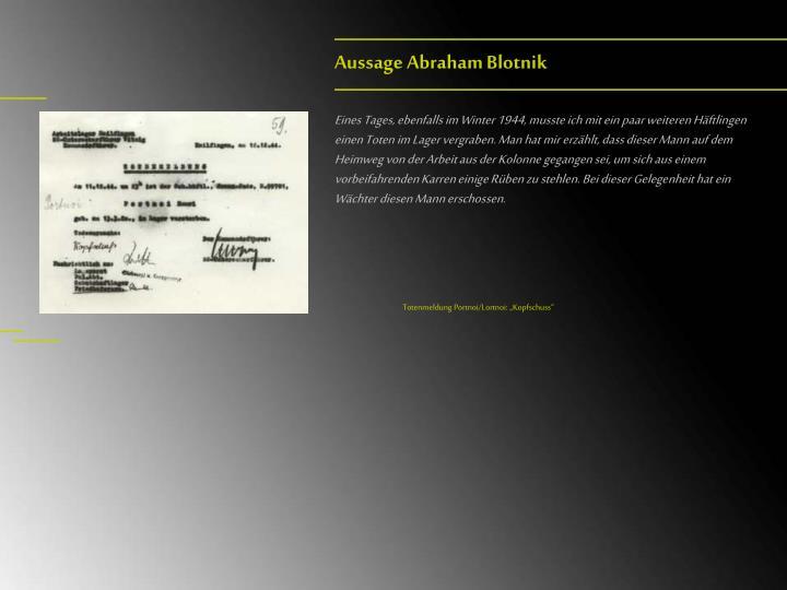 Aussage Abraham Blotnik