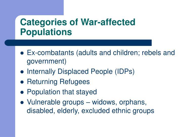 Categories of War-affected Populations