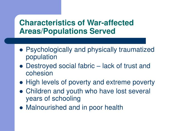 Characteristics of War-affected Areas/Populations Served