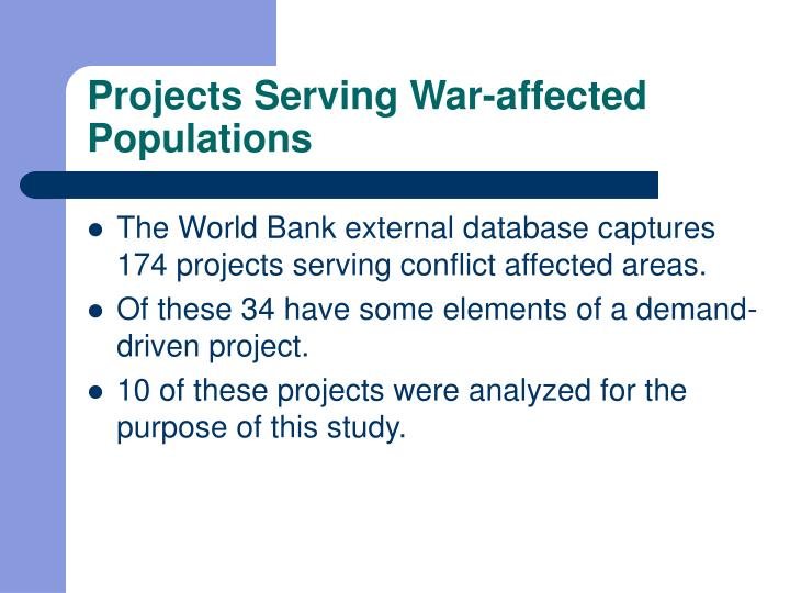 Projects serving war affected populations