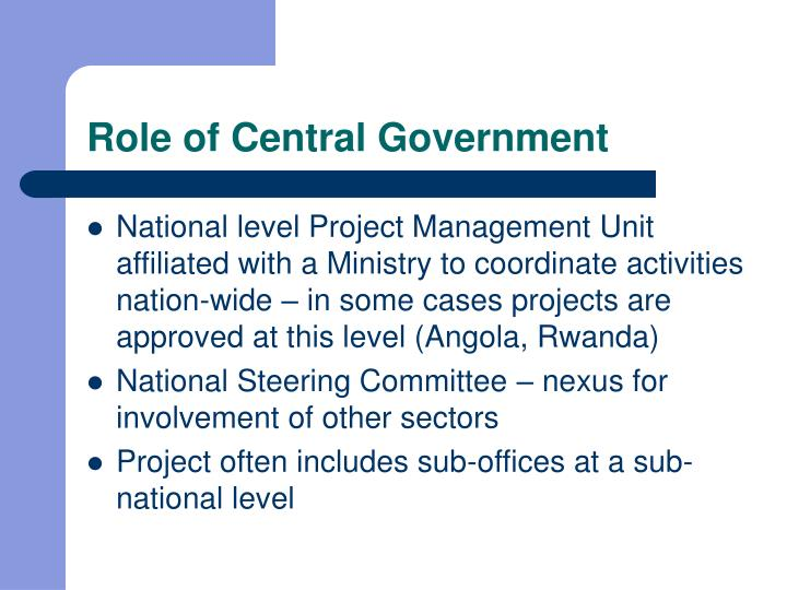 Role of Central Government