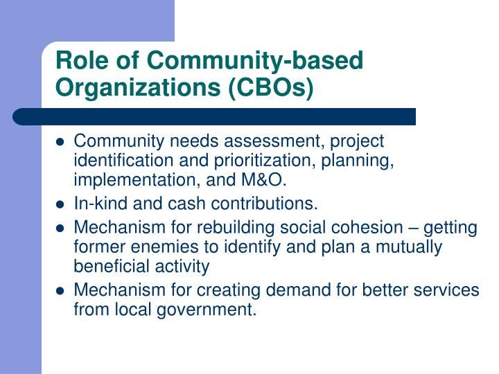 Role of Community-based Organizations (CBOs)