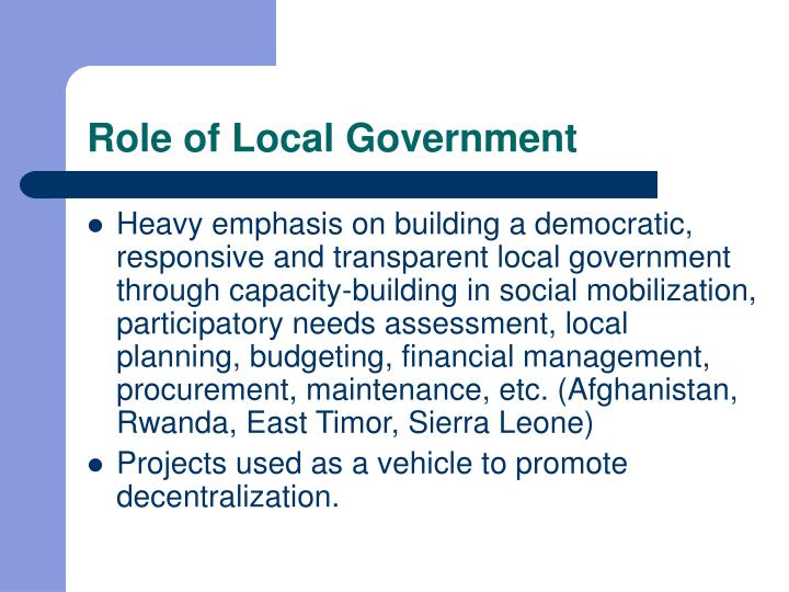 Role of Local Government