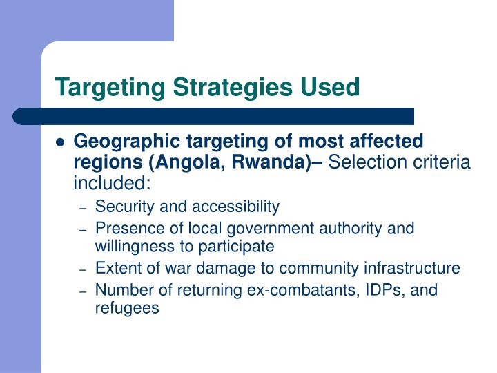 Targeting Strategies Used