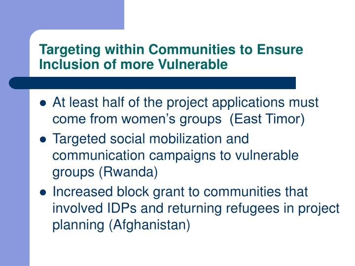 Targeting within Communities to Ensure Inclusion of more Vulnerable