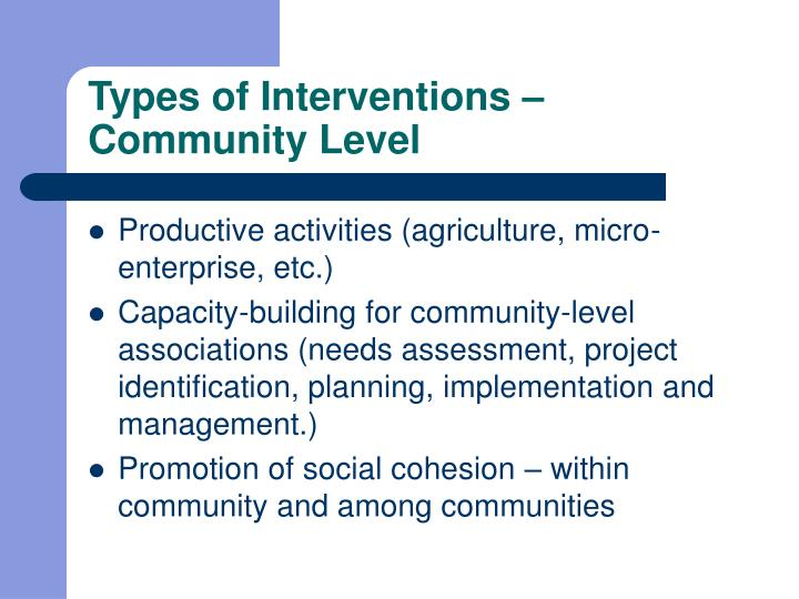 Types of Interventions – Community Level