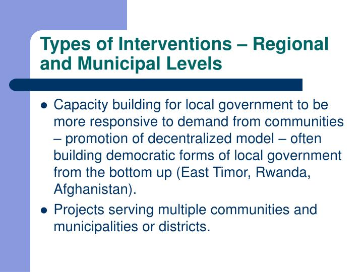 Types of Interventions – Regional and Municipal Levels