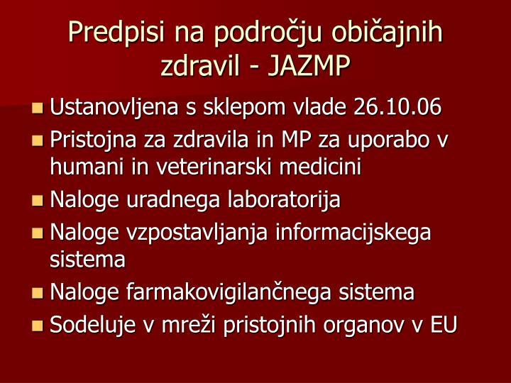 Predpisi na področju običajnih zdravil - JAZMP
