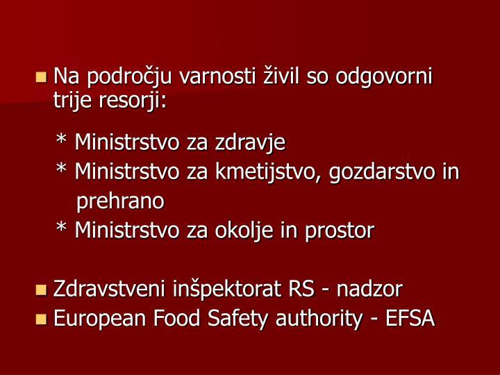 Na področju varnosti živil so odgovorni trije resorji: