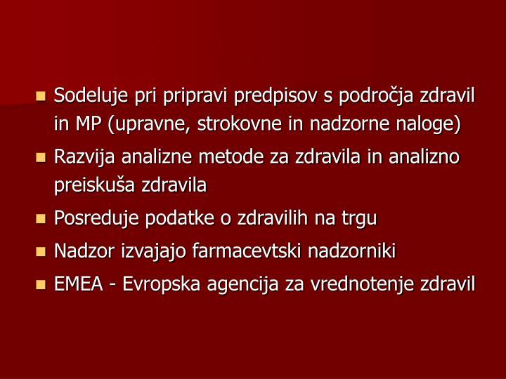 Sodeluje pri pripravi predpisov s področja zdravil in MP (upravne, strokovne in nadzorne naloge)