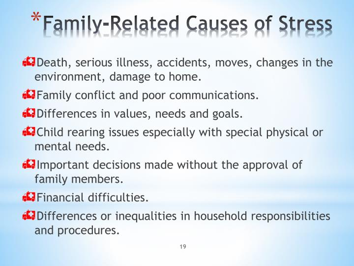 Death, serious illness, accidents, moves, changes in the environment, damage to home.
