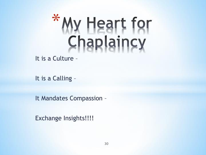 My Heart for Chaplaincy