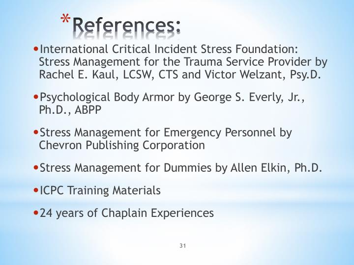 International Critical Incident Stress Foundation: Stress Management for the Trauma Service Provider by Rachel E.