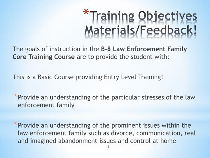 Training objectives materials feedback