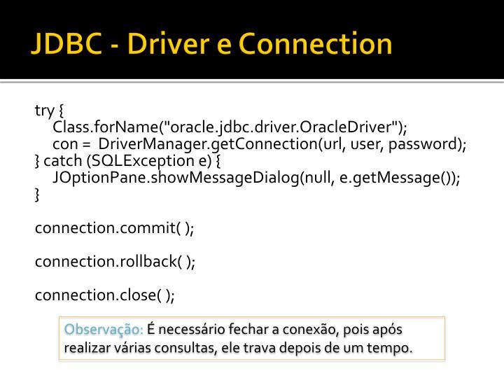 JDBC - Driver e Connection