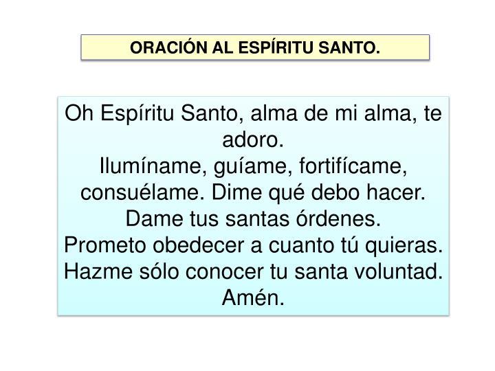 ORACIÓN AL ESPÍRITU SANTO.