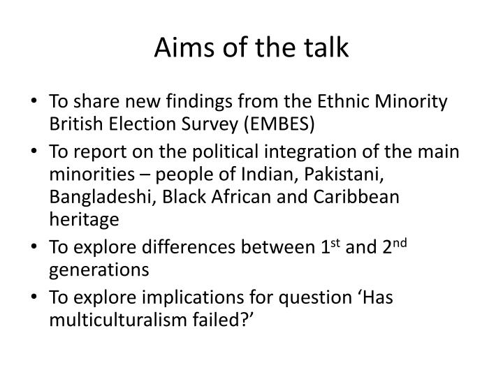 Aims of the talk