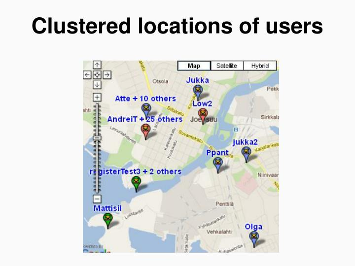 Clustered locations of users