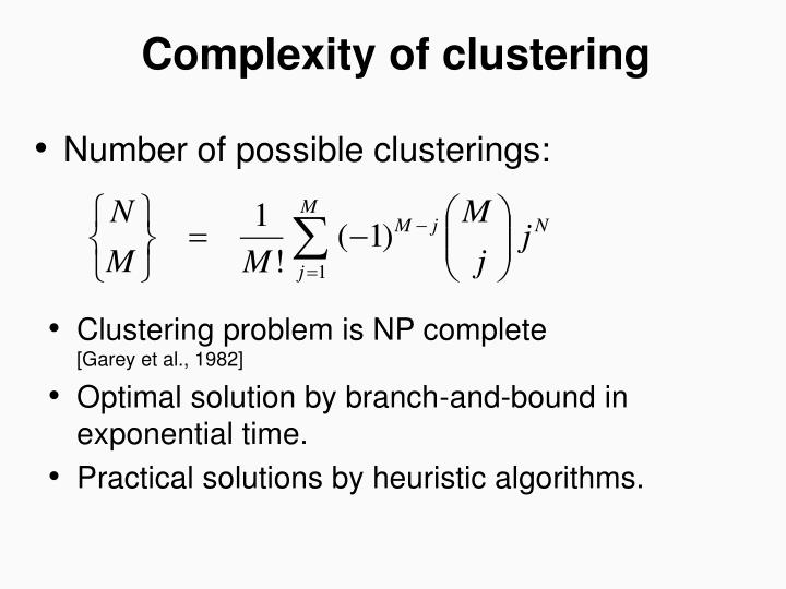 Complexity of clustering