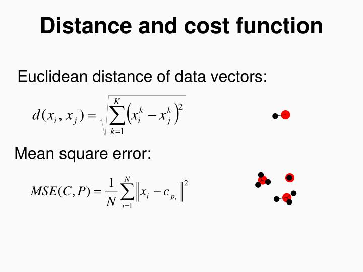 Distance and cost function