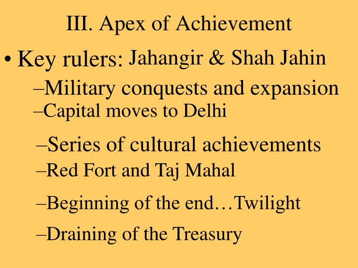 III. Apex of Achievement