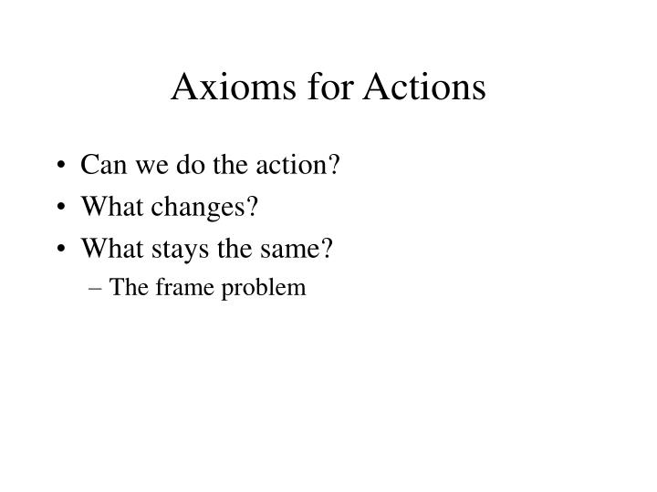 Axioms for Actions
