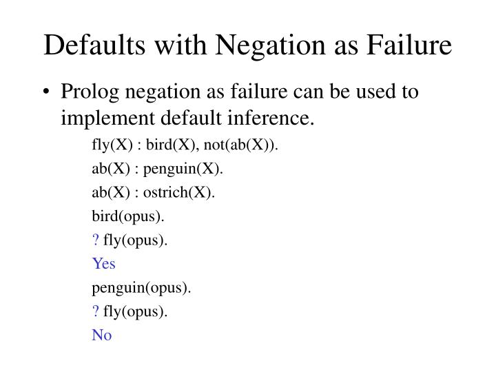 Defaults with Negation as Failure